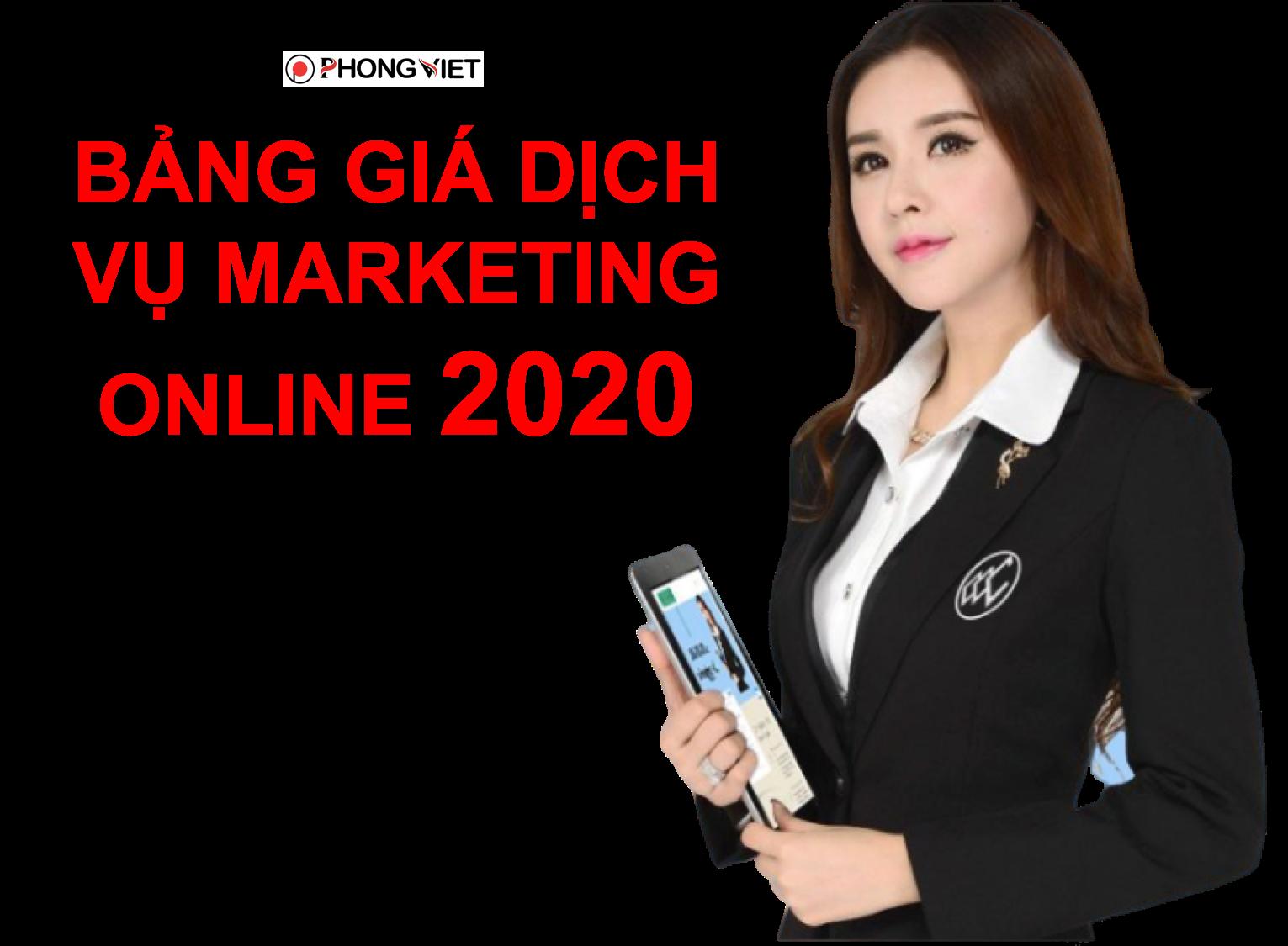 bảng giá dịch vụ marketing online 2020